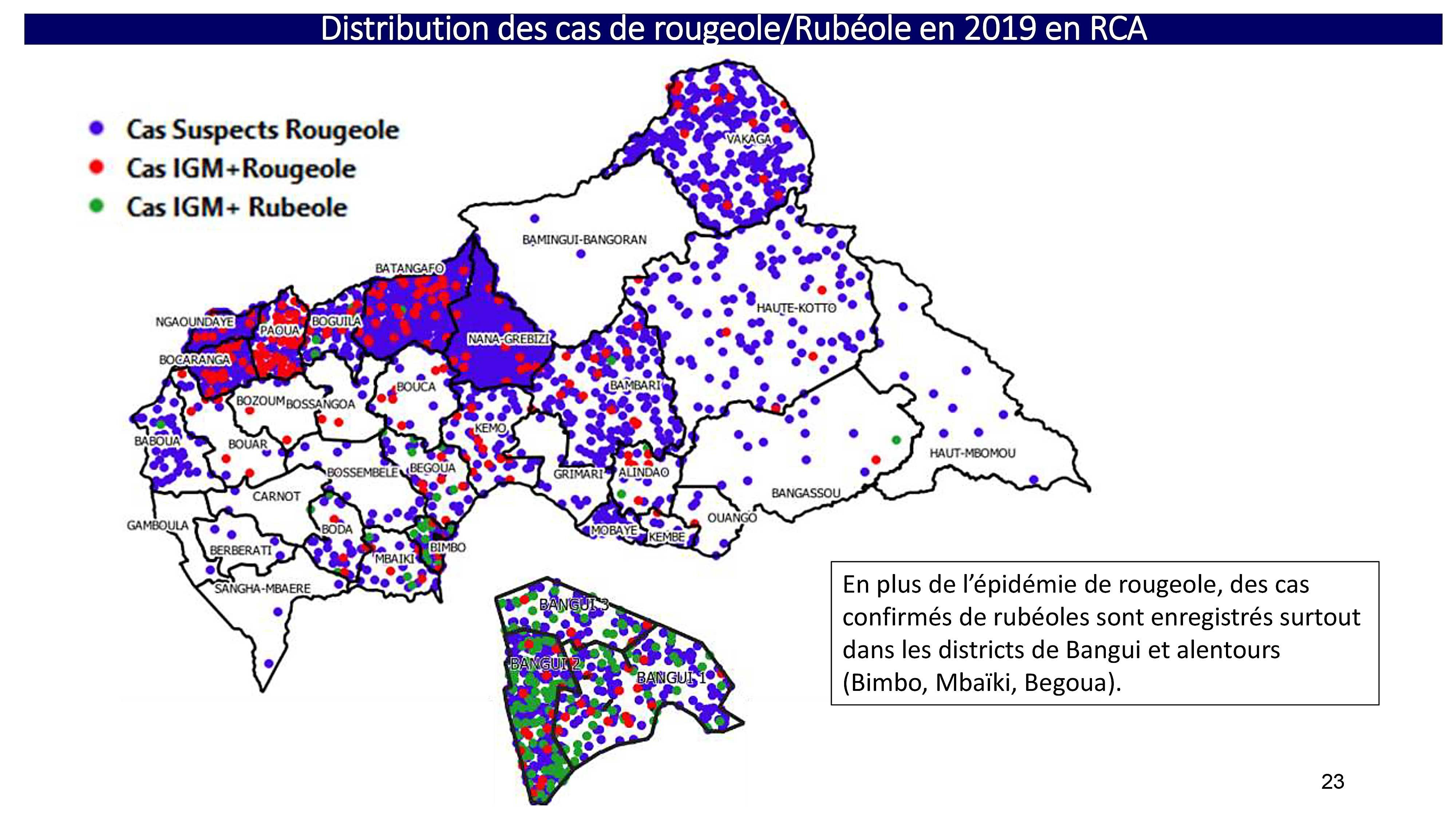 En République Centrafricaine, les cas de rougeole ont bondi à 3284 cas suspects au 20 janvier 2020, comparé à 240 cas en 2018 selon le Ministère de la Santé. L'épidémie enflamme 17 districts de santé du pays sur 35 et a causé 52 décès. Le ministère de la santé organise la riposte à l'épidémie en collaboration avec l'OMS, l'UNICEF, GAVI et les autres partenaires. Comment en est-on arrivé là ?