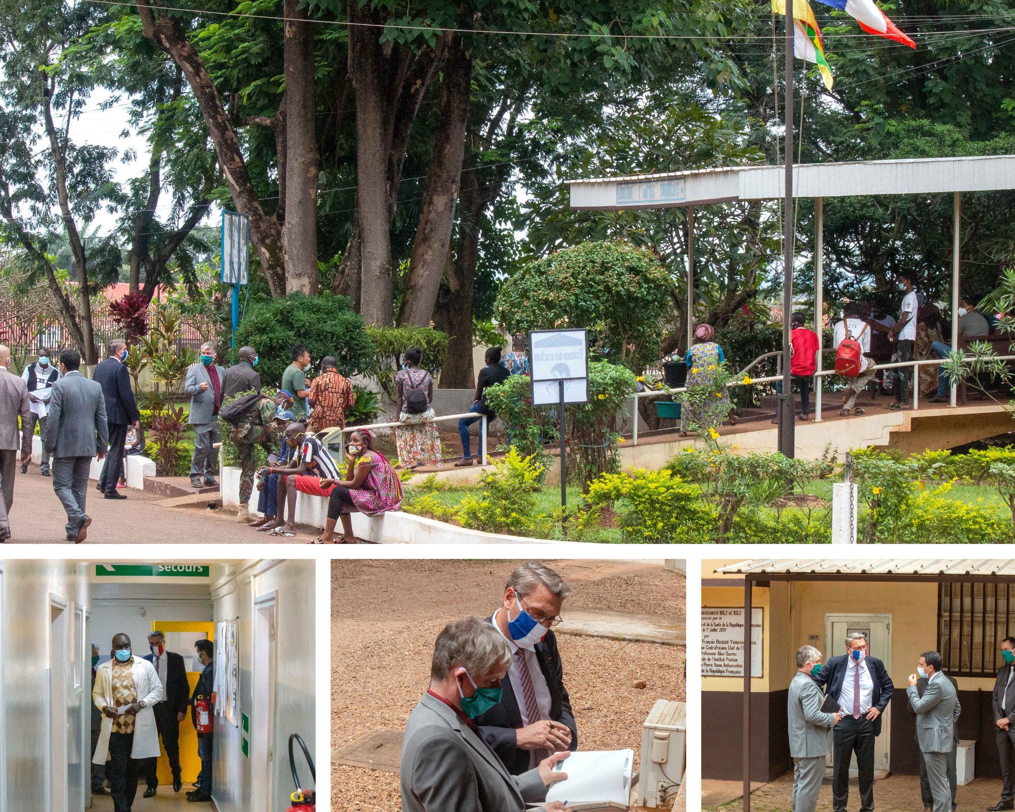 L'Ambassadeur, haut représentant de la République française auprès de la République centrafricaine, Jean-Marc GROSGURIN visite l'Institut Pasteur de Bangui à la suite de sa nomination le 05 septembre 2020, accompagné du Chef du Service de Coopération et d'Actions Culturelles de l'Ambassade, Louis ESTIENNE également nouvellement nommé.